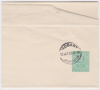 TASMANIA Half Penny KEVII PREPAID STATIONERY NEWSPAPER WRAPPER 1906 Hobart -OZ10