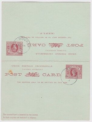 VICTORIA Three Halfpence QV PREPAID STATIONERY REPLY POSTCARD 1891 Melbourne -11