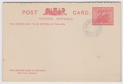 WESTERN AUSTRALIA One Penny PREPAID STATIONERY REPLY POSTCARD A7 - OZ13