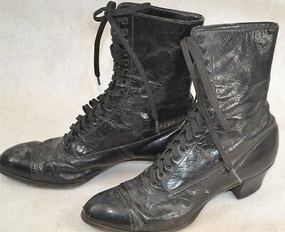 shoes high lace Victorian  boot black lace heel leather antique  1890 wearable