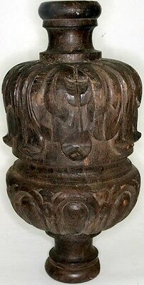 finial post topper architectural wood carved 14 in. fancy antique original 1800