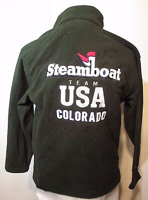 "Steamboat Springs Colorado USA Team Skiing Embroidered Fleece S 36""  chest New"
