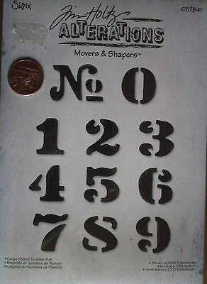 Sizzix-Tim Holtz Alterations-Movers & Shapers- CARGO STENCIL NUMBER SET - 657841