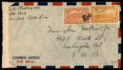 Costa Rica San Jose censored airmail cover to Los Angeles California