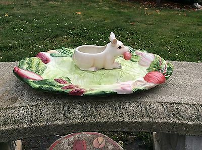 """Fitz And Floyd French Market Platter Tray Small Pig Piggy Approx. 17"""""""