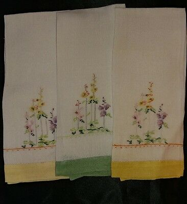 3 Vintage Rice Linen Tea Hand Towels Micro Cross Stitch Embroidered  Floral(#42)