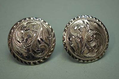 """2 FLEMING Cortes STERLING Overlay Engraved Concho Rosettes for Bridle 1 5/16"""""""