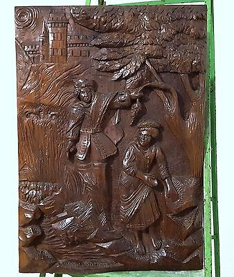 GOTHIC WOMAN MUSICIAN PANEL SOLID ANTIQUE HAND CARVED WOOD SALVAGED CARVING b