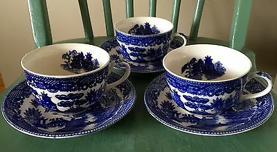 Set of 3 Vintage Blue Willow Tea Cup and Saucers  Made in Japan