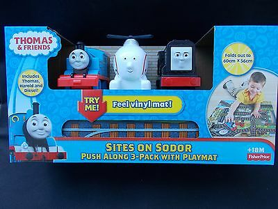 **thomas & Friends Fisher Price Sites On Sodor Push Along 3 Pack With Playmat**
