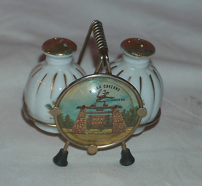 Antique New Hampshire Polar Caverns Gold / Porcelain Shakers And Stand