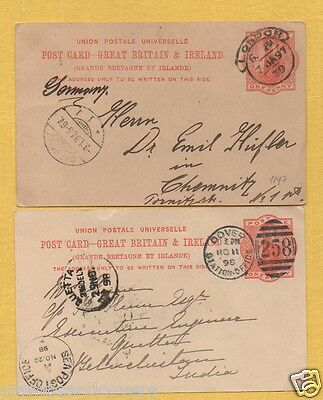 QV 1890s Postcards to GERMANY/INDIA: DOVER STATION OFFICE & LONDON HOODED CIRCLE