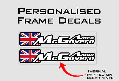 Outline Personalised Bike Frame and Helmet Stickers - Name Decals - Set of 6