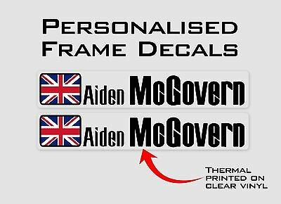 Linear - Personalised Bike Frame and Helmet Stickers - Name Decals - Set of 6