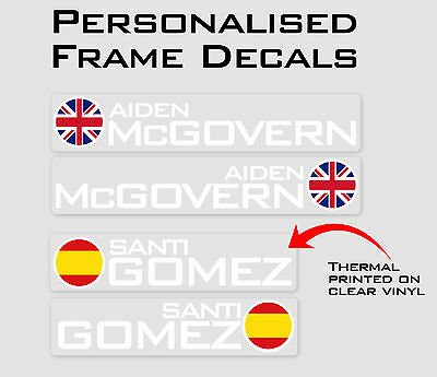 Circle Flag Personalised Bike Frame and Helmet Stickers - Name Decals - Set of 6