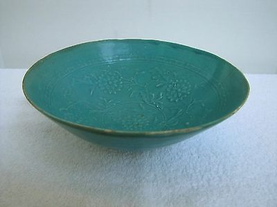 Antique Song Dynasty Raised Floral pattern, turquoise ceramic bowl