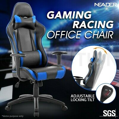 High Back Sport Gaming Racing  Adjustable Blue Leather Office Computer Chair