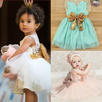Princess Baby Girls Sequins Bowknot Party Wedding Gown Formal Bridesmaid Dress