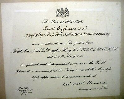 WW1 WWI British Royal Engineers Mentioned in Despatch Notice Secretary Churchill