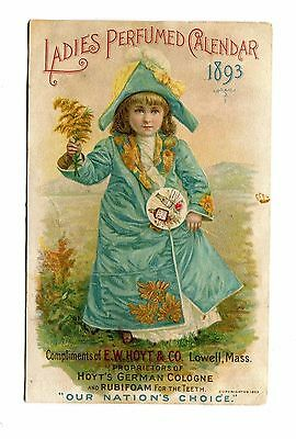 Victorian Trade Card HOYTS GERMAN COLOGNE Ladies Perfumed Calendar 1893