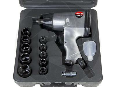 "17pcs Automotive 1/2"" Air Impact Wrench Kit Metric Sockets Extension with Case"