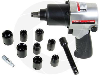 "14pcs Pneumatic Tool 1/2"" Air Impact Wrench Gun w/ 8 Metric Socket Set 500ft-lb"