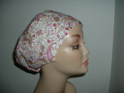 Emily Paisley Pink European Euro OR Surgical Scrub hat CNOR CORT CRNA Xray Chef
