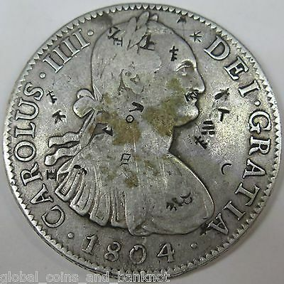 Mexico 1804 Silver 8 Reales ,Colonial Period - With Chop Marks
