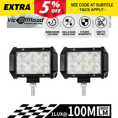 Pair 4inch 30w CREE LED Work Light Bar FLOOD Beam Offroad