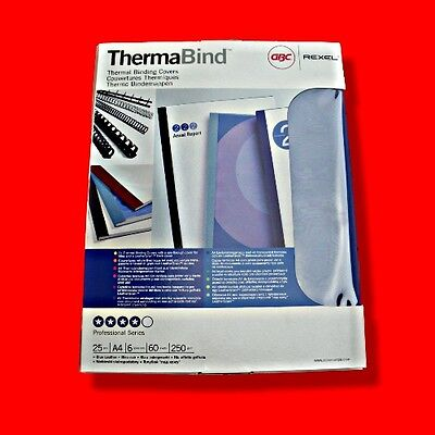 Box 25X Gbc Thermabind A4 6Mm Thermal Binding Clear Covers Blue Card Back