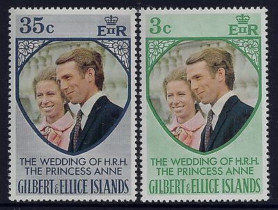 1973 Gilbert & Ellice Islands Royal Wedding Set Of 2 Fine Mint Mnh/muh