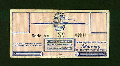 Netherlands Holocaust Westerbork Concentration Camp 10 Cents 1944 WWII