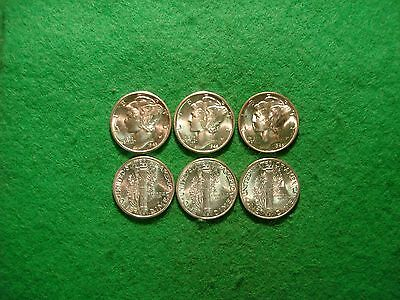 three BU silver wartime WW2 mercury dime 1943 1944 1945 FREEPOST