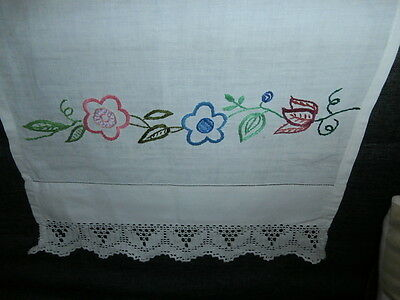 PRETTY WHITE COTTON/LACE CHAIR BACK COVER with HAND WORKED EMBROIDERED FLOWERS