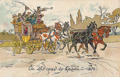 O ANDERS     ON THE ROAD TO EPSOM   1804   STAGECOACH HORSE ART pu 1908