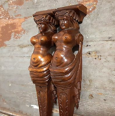 Pair Nude Woman Caryatid Sculpture Antique French Carved Wood Salvaged Furniture