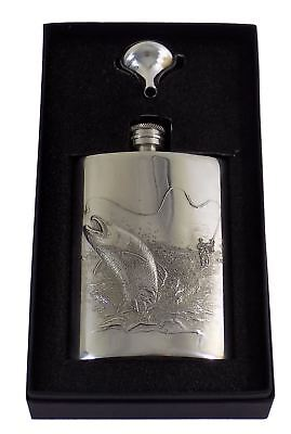Christmas Present Trout Fishing Embossed Pewter Hip Flask 6Oz & Funnel Made Uk