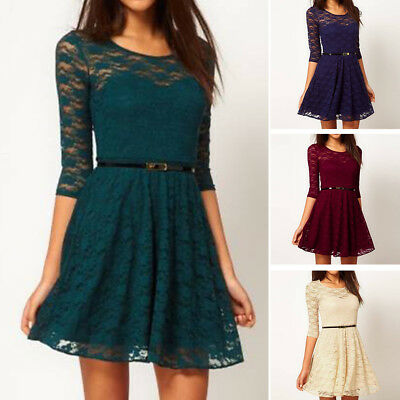Fashion Women Summer Lace Long Sleeve Party Evening Cocktail Short Mini Dress SE