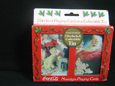coca cola : 2 x deck playing cards in a retro tin package , 90's .