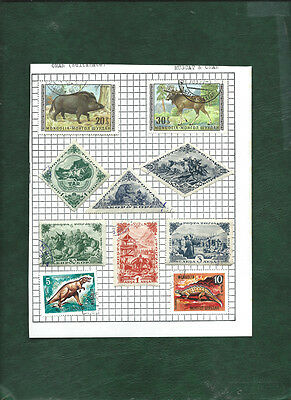 Mongolia & Tannu Touva 10 cto used stamps on page