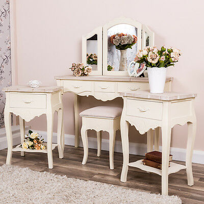 Cream Dressing Table Set Pair Bedside Tables Shabby Chic Bedroom Furniture Set