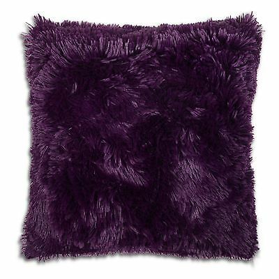 "Long Pile Super Soft and Cuddly Shaggy 17x17"" (43x43cm) Cushion Cover (Purple)"