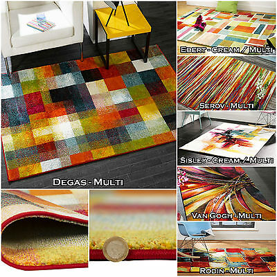 New Large Small Multi Quality Impressionist Polypropylene Soft Thick Modern Rugs
