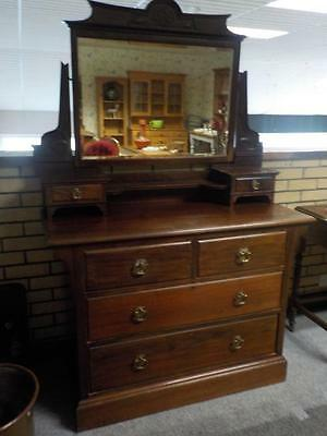 Edwardian Mahogany Dressing Table Chest With Mirror & 2  Over 3 Drawers