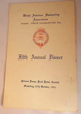 Welsh Amateur Swimming Association 1951 Annual Dinner Menu/Toast List
