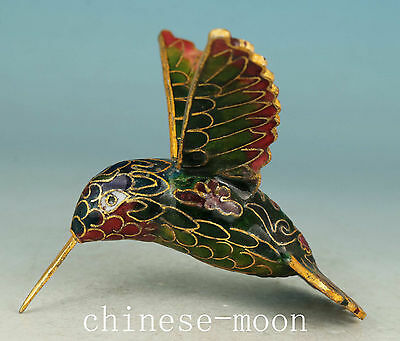 Nice Chinese Old Cloisonne Handmade Painting Flying HummingBird Statue