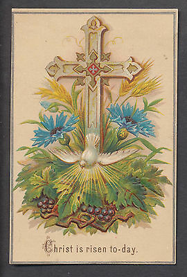 C1301 Victorian Embossed Easter Card: Dove & Cross 1881