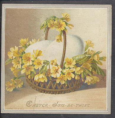 C1316 Victorian Tuck Easter Card: Eggs on Basket, Bertha Maguire