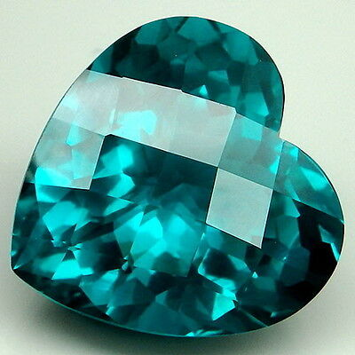 20.5ct. Attractive!!! Paraiba ~Blue-Green Apatite Heart&Checkerboard Table