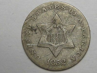 1852 US Silver Three Cent Coins. 3 Cents. 3c.  #25